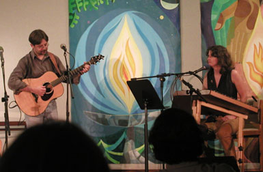 Darcy with Gregory Lygon at the 333 Coffeehouse in Annapolis, MD. Photo by Glenn Tucker